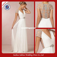 Cheap GWA88 Simple But Elegant Sleek Backless Chiffon Grecian V-neck Wedding Dresses