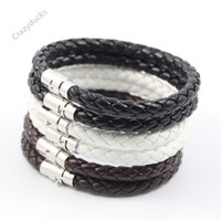 Wholesale Top Quality mm Braid Pu Leather Bracelets Leather Bangles cm colors