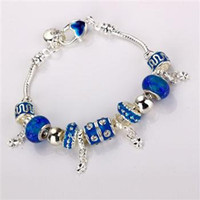 Wholesale Fashion European Design Lovely Beads Charm silver Bracelet SILVER Blue beads Charms with Bracelet bracelets