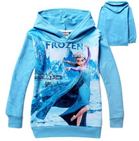 Girl Spring / Autumn O-Neck 2014 Frozen Baby Girls 2-8Yrs Elsa Anna Princess Hoodie Long Sleeve Terry Hooded Jumper Sweatshirts Cartoon Hoodies Outerwear Kids Clothes