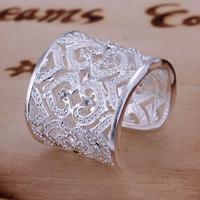 Wholesale 2014 new fashion silver ring silver fashion jewelry Inlaid Multi Heart Ring Silvery Opened