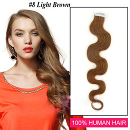 "Wholesale - 14"" - 24"" 100% Human PU EMY Tape Skin Hair Extensions 2.5g pcs 40pcs&100g set #8 light brown body wave"