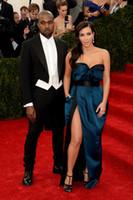 Wholesale Met Gala Kim Kardashian Celebrity Red Carpet Dresses Sweetheart Neck Sash Sheath Long High Side Slit Sexy Evening Gowns