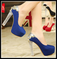 Wholesale Crystal Wedding Dress Shoes - elegant blue shoes with chain women crystal heels high platform pumps sexy high heel dress shoes red black size 34 free shipping