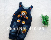 Boy Summer Baby RK0018 Free shipping new style kids bear jeans romper baby suspender trousers boy girl Jumper pants retail