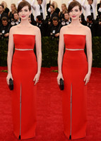 anne hathaway dress - Met Gala Anne Hathaway Celebrity Red Carpet Dresses Strapless Sheath Floor Length Split Front Red Two Piece Fashion Evening Prom Gowns
