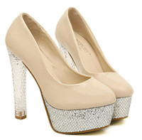Women Pumps Chunky Heel 2014 glitter silver platform women crystal heels yellow high heels prom gown dress shoes nude color size 34