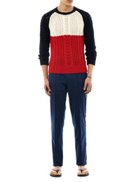 Wholesale New arrival autumn winter XS to XXL size Pullover long Sleeve fashion Colour block Combed cotton cable stitch men sweaters
