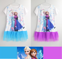 TuTu Summer Pleated new 2014 elsa frozen dress summer girl baby & kids girls dresses baby clothing blue color wholesale in stock fgdfhgtdra
