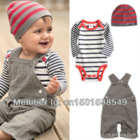 Boy Summer Baby Boys New 2013 autumn -summer clothing set baby Boy clothes baby clothing Kid overalls + Baby Romper + Cap 3pcs set Free shipping
