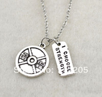 Wholesale fashion a antique silver Vintage Circle LBS KG Weight Plate and I Choose Strength sports necklace