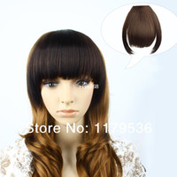 Wholesale MAYSU Clip in on Hairpieces Bangs Fringes One Side Long Extensions