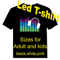 Wholesale 10pieces EL T shirt Sound Activated Lighting T shirt light up and down led t shirt Over logos for your choise by DHL