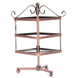 Iron Rotatable Three Layer Square Princess Earring Holder Earrings Display Stand Jewelry Holder
