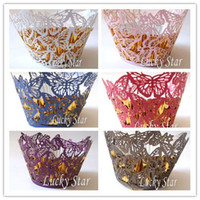 Wholesale For cake mix color Butterfly laser cut Cupcake Wrapper Pearl Paper Cake Muffin wrap Decoration For Wedd