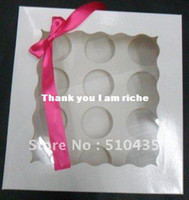 Wholesale pc cupcake white cardpaer Kraft paper box with pvc window take out cake box with insert insert size
