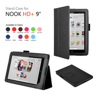 """Protective Shell/Skin 7'' For Apple Black Folio Holder Leather Case Cover For Barnes & Noble Nook HD+ 9"""" Tablet"""