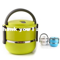 Ceramic Dinnerware Sets Ceramic stainless steel+Eco-friendly PP  Wholesale - Double Layer Stainless Steel Children Lunch Box 1.4L Keep Warm Food Container For Kids