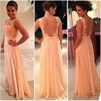 2014 Cheap Backless Chiffon Lace Bridesmaid Dresses Hunter R...