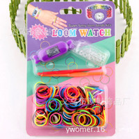 Charm Bracelets DIY Children's Free shipping Newest DIY Knitting Braided loom Watch Rainbow Kit Rubber Loom Bands Self-made Silicone Bracelet (Watch+Rubber+Clip+Hook)