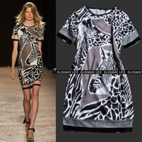 Casual Dresses V_Neck A Line RUNWAY 2014 Sexy Sheer Mesh Insert Giraffe Animal Print Short Dresses Spring Summer Clothes Women Casual Dress Club Dress Hot