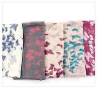 butterfly scarf silk - The new hot early spring color butterfly print silk scarf Ms Scarf Voile New