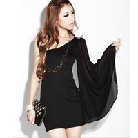 Casual Dresses Strapless Sheath Free shipping Hot Sale Women's Sexy Single Naked Shoulder Bell Sleeve Chiffon Dress YF1005 Drop Shipping