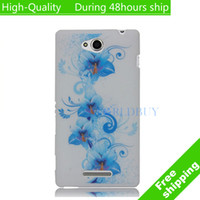 For Sony Ericsson Metal Yes High Quality Flowers Butterfly Pattern TPU Case Cover For Sony Xperia C C2305 S39h Free Shipping UPS DHL EMS CPAM HKPAM DE-16