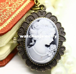 Wholesale Coupon for price good quality new retro bronze vine classic cameo beauty head figure pocket watch necklace hour