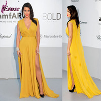 Reference Images V-Neck Organza New Fashion Kim Kardashian Celebrity Double Slits Yellow Chiffon Evening Dress Long Prom LN-043