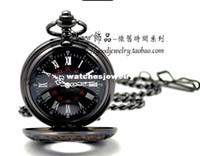 Antique analog bags - 47x47mm New Men Black Tone Roman Number Case Necklace Pocket Watch Fuzzy Bag