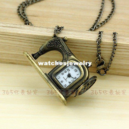Wholesale A185 New Antique Cute Bronze Sewing Machine Pocket Watch For Xmas Gift