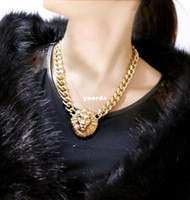 Wholesale Hot explosion models in Europe and America exaggerated necklace European and American style lion head lion head necklace jewelry Y