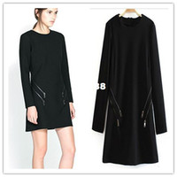 Wholesale winter autumn spring long sleeve woman dress high quality of cotton blend polyester dress with zipper pockets hot sale dress