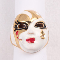 Eyebrow Jewelry Unisex Alloy Chinese style Peking Opera masks glazed rings personalized rings wholesale tears paragraph