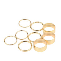 Band Rings Unisex Party 45PCS Gold Tone Punk Wide Band Ring Stack Plain Knuckle Midi Mid Rings Set Wholesale