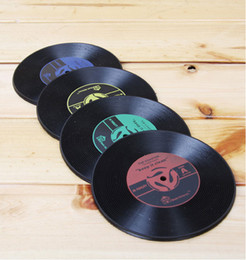 Wholesale Vinyl Record Cup Mats Retro Drinks Coasters Silicone Placemats Table Pads