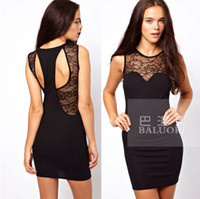 Casual Dresses V_Neck A Line Fashion Women Sexy & Club Hollow Out Dress ,Splicing Lace Dress With Naked Back Free Shipping 4011207