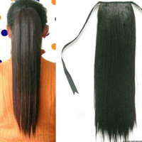 Wholesale New Women Girls Synthetic Hair Long Straight Ponytail Clip Hair Extensions Party