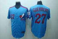 Baseball Men Short Expos Guerrero #27 Blue Throwback Baseball Jerseys 2014 Hot Cheap Stitched Team Logo Jersey for Men Collection Sportswear