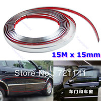 12'' PP Rear Free Shipping 15M 15mm Car Auto Chrome DIY Moulding Trim Strip For Window Bumper Grille Silver