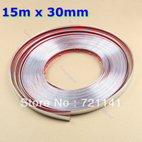 12'' PP Rear Free Shipping 15M 30mm Car Auto Decoration Moulding Trim Window Bumper Protector Strip Silver