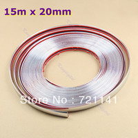 12'' PP Rear Free Shipping 15M 20mm Car Auto Decoration Moulding Trim Window Bumper Protector Strip Silver