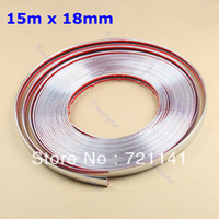 12'' PP Rear Free Shipping 15M 18mm Car Auto Chrome DIY Moulding Trim Strip For Window Bumper Grille Silver