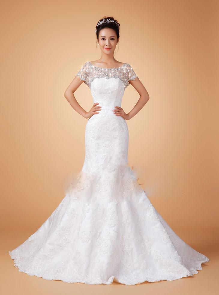 2014 New Design Mermaid Shining Diamond Lace Wedding Dresses Slim ...