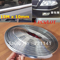 12'' PP Rear Free Shipping 3pcs lot 15M 10mm Car Auto Chrome DIY Moulding Trim Strip For Window Bumper Grille Silver
