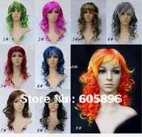 Synthetic Hair Wig,Half Wig Multi-Color Free Shipping-Wholesale!-festival wigs colorful party wigs long curl synthetic cheap wigs 1 piece drop shipping
