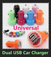 Wholesale Colorful Dual USB port Car Charger A Auto Power Adapter universal for iphone for ipad for Samsung