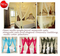 Wholesale Luxurious court mosquito net Large Bed Canopy Multiple color choices Elegant and romantic wedding Mosquito nets lace Mosquito net