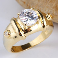 Wholesale New Men Gold Plated Sterling Silver Rings Clear Cubic Zirconia Mm Round Cut Sizes Colors Selectable R115
